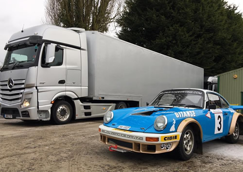 Ice driving in Sweden - delivery of 8 classic rally Porsches.