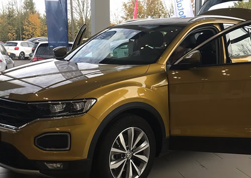 The new VW T-Roc Tour - covered car transport.